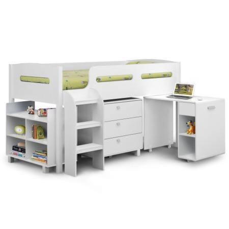 Julian Bowen Kimbo White Cabin Bed With Pull Out Desk