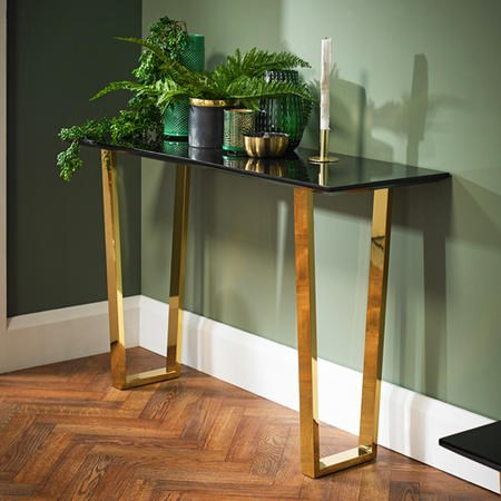 LPD Antibes Black High Gloss Console Table with Polished Gold Legs