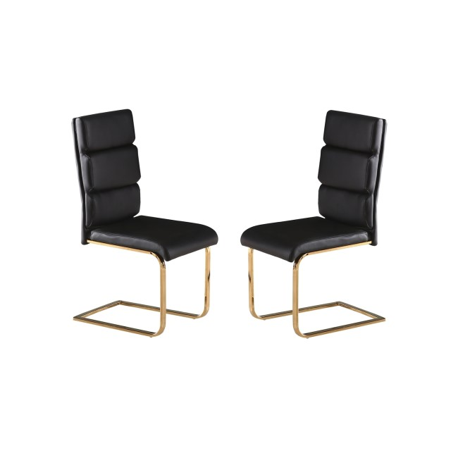 LPD Antibes Pair of Dining Chairs with Black Faux Leather with Polished Gold Legs