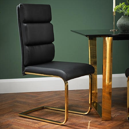 LPD Antibes Pair of Dining Chairs Black and Gold