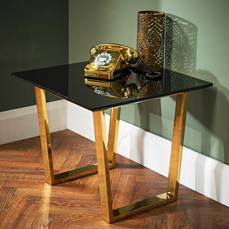 LPD Antibes Black High Gloss Lamp Table with Polished Gold Legs