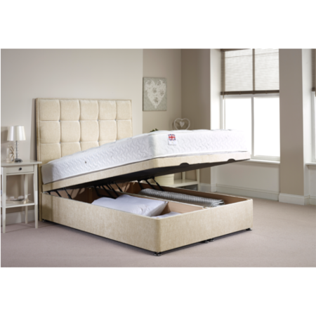Appleton Ottoman Double Bed Frame in Caramel Chenille Fabric