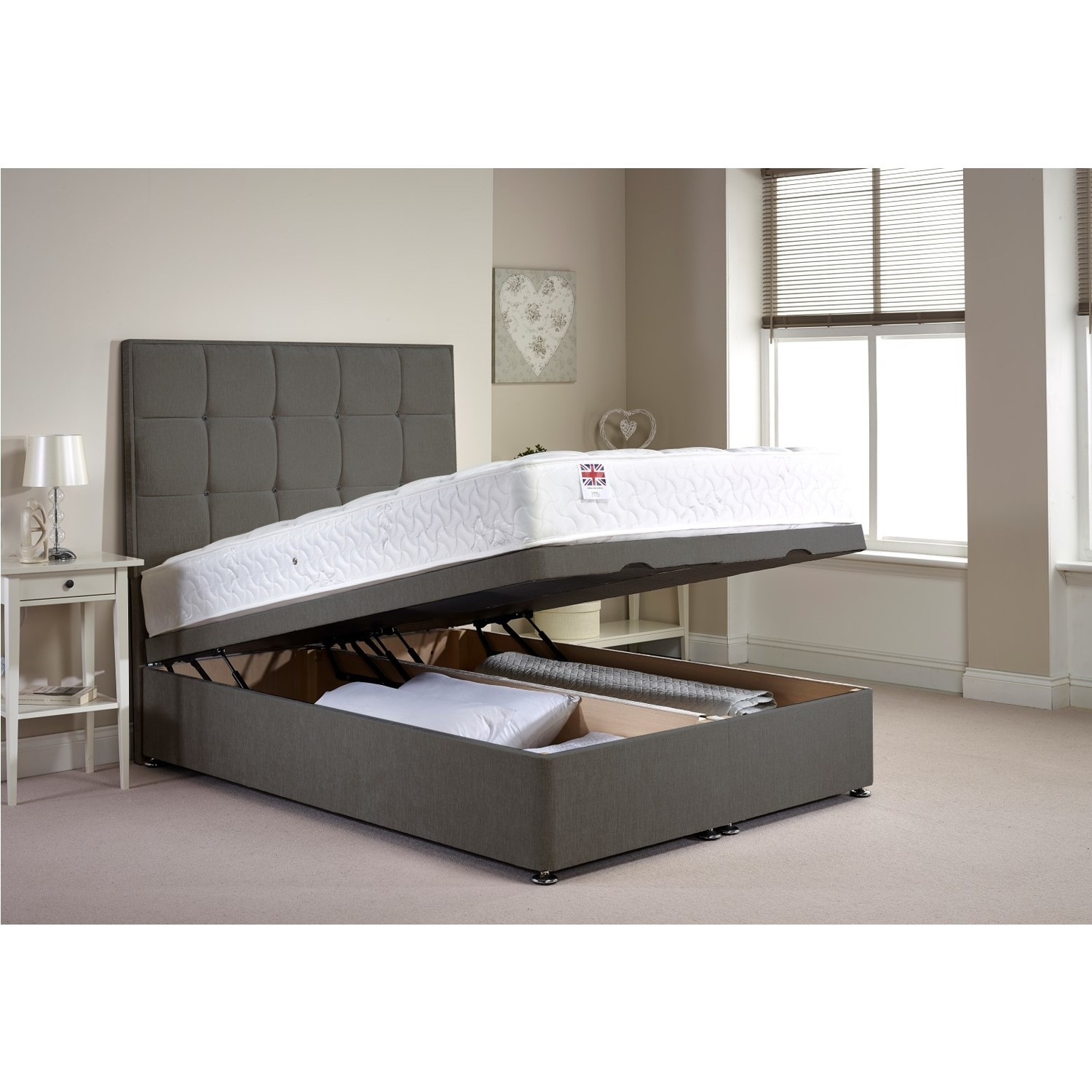 Appleton Ottoman King Size Bed Frame in Light Grey Chenille Fabric