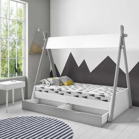 Arlo Grey and White Teepee Bed Frame with Pull Out Storage Drawers