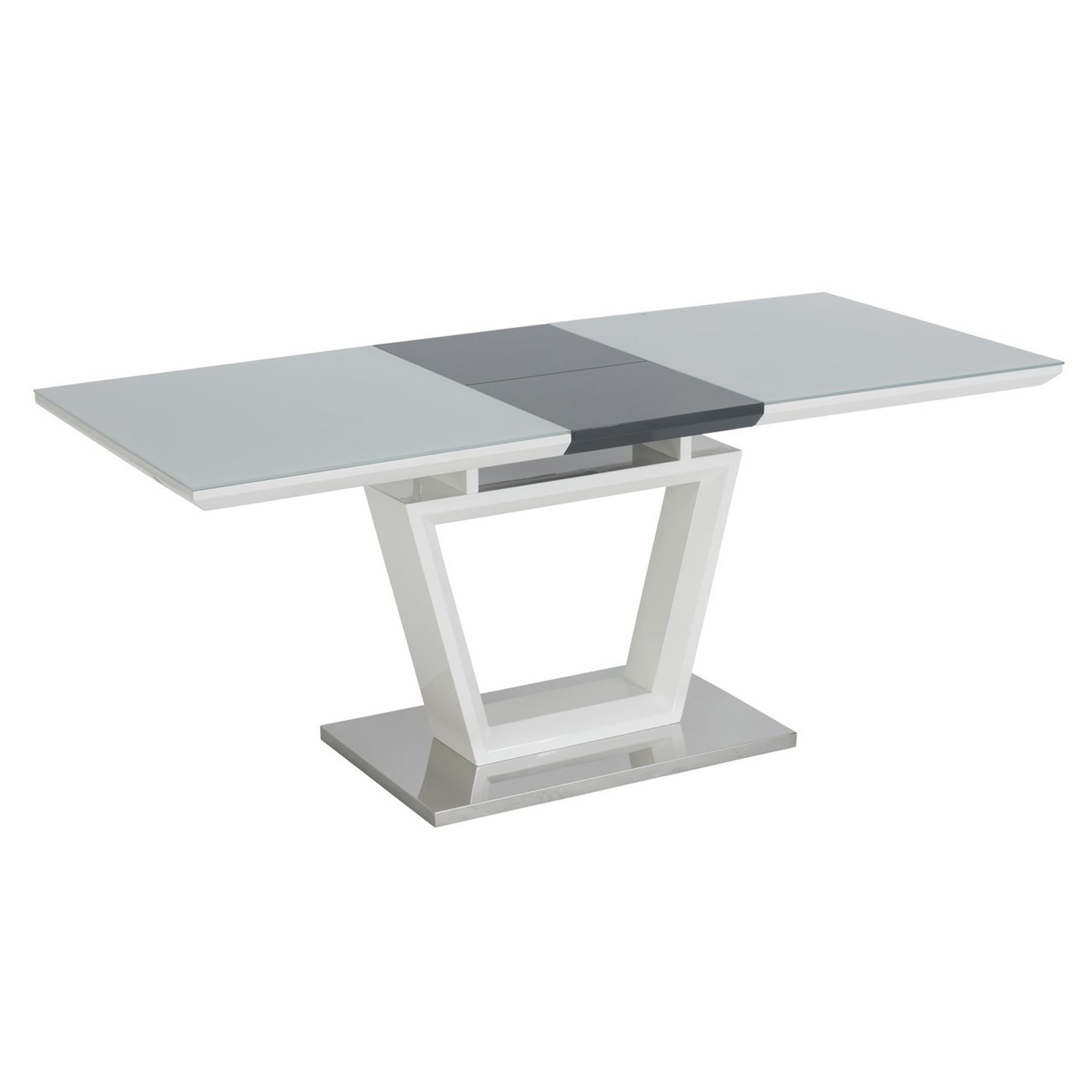 Arlington High Gloss White Extendable Dining Table With Grey Base Seats 4 6 Furniture123