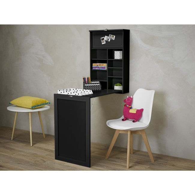 Arlo Foldaway Black Wall Desk with Chalk Board - LPD