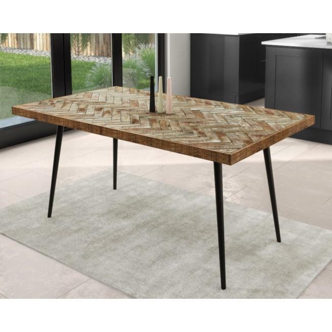 Herringbone Dining Table in Solid Mango Wood - Seats 6-8 - Arno
