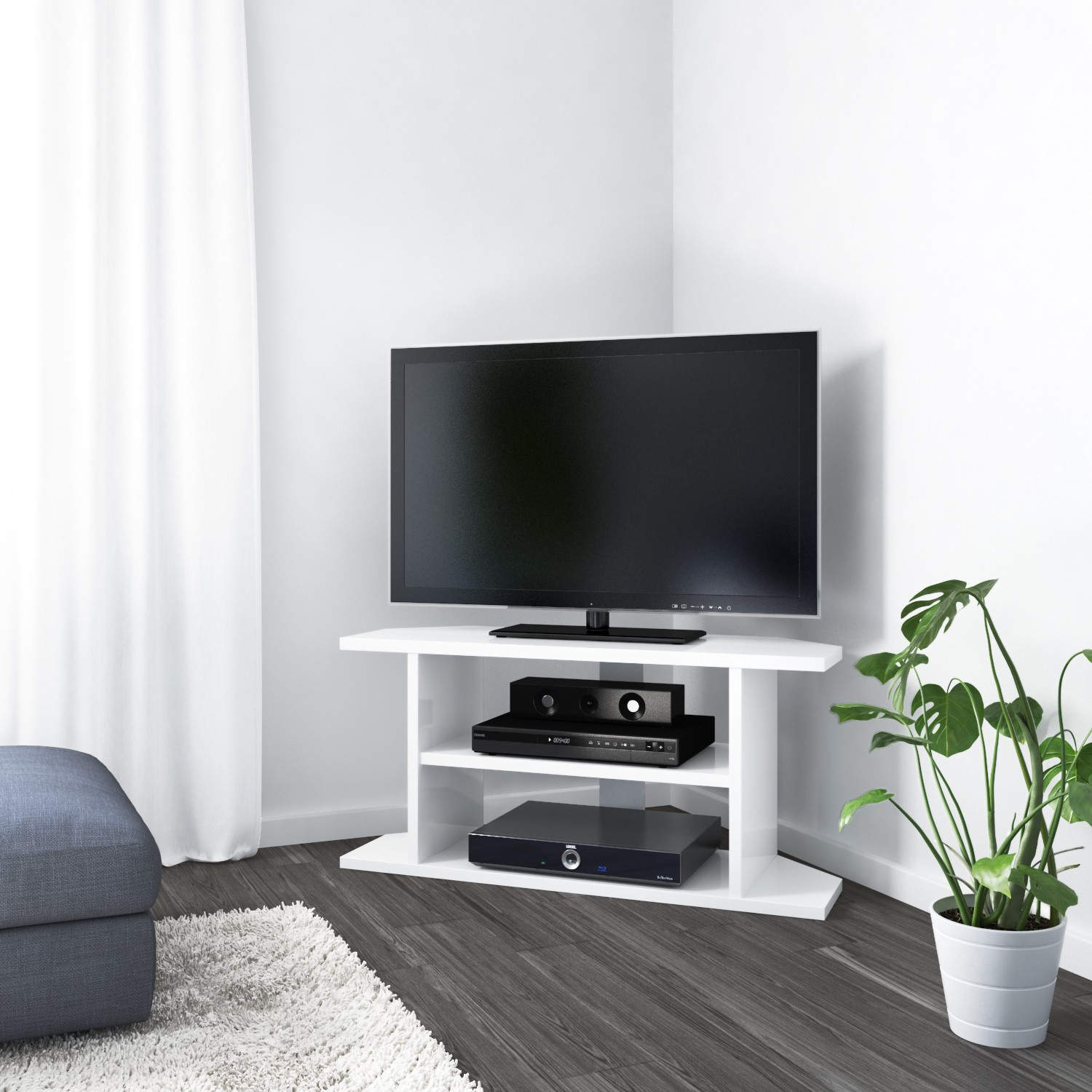 Picture of: Corner Tv Unit In White Gloss 100cm Tv S Up To 40 Furniture123