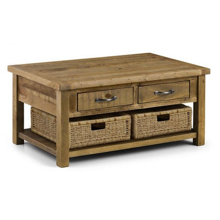 Solid Wood Coffee Table with Storage Drawers - Julian Bowen Aspen Range