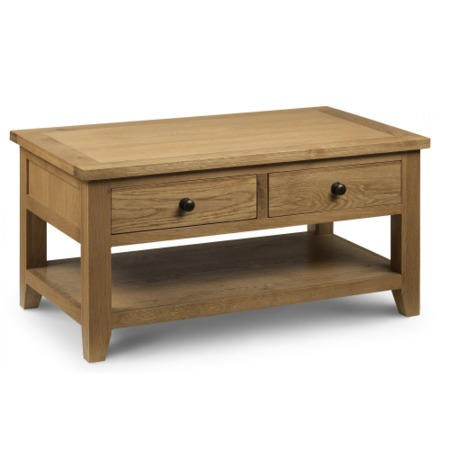 Julian Bowen Astoria 2 Drawer Coffee Table in Waxed Oak