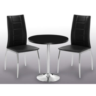 LPD Limited Athena Round High Gloss Dining Set In Black