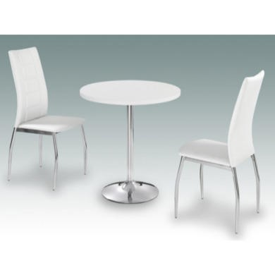LPD Limited Athena Round High Gloss Dining Set In White