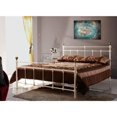 Birlea Furniture Atlas Metal Double Bed in Cream