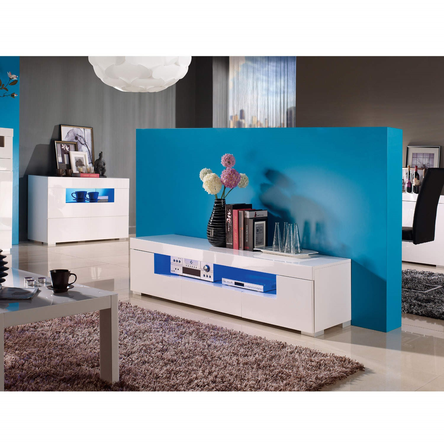Mayfair White High Gloss Tv Unit With Blue Lighting Furniture123