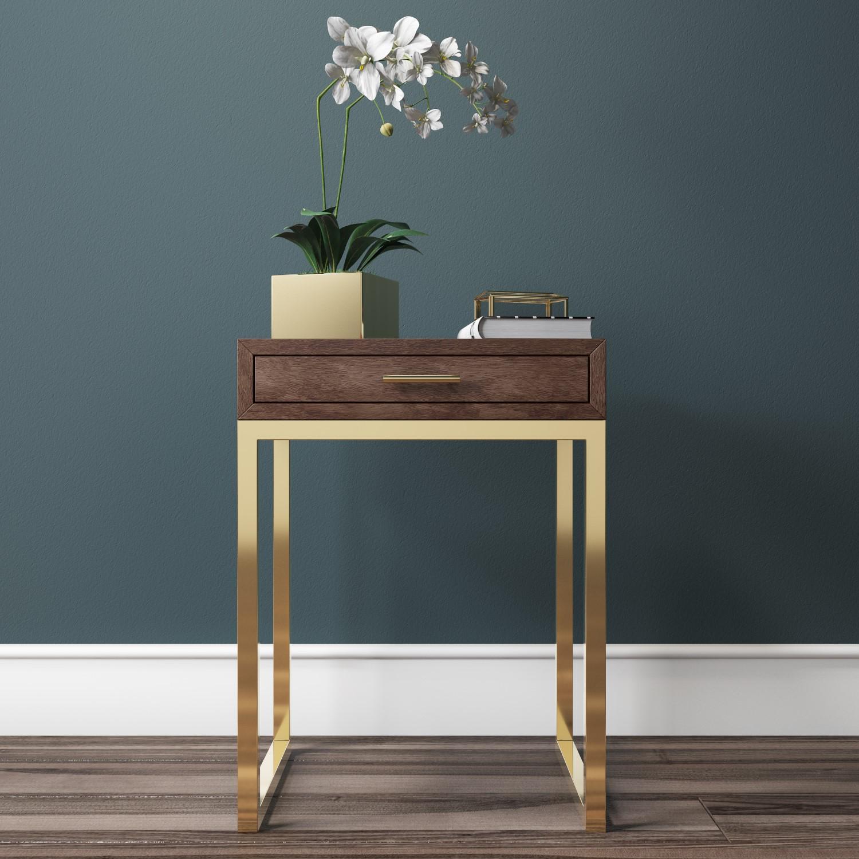 Aubrey Walnut 1 Drawer Bedside Table With Gold Trim Legs Furniture123