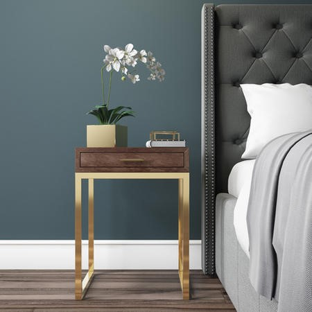 Aubrey Walnut 1 Drawer Bedside Table with Gold Trim Legs