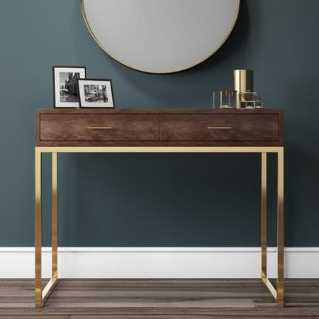 Aubrey Walnut 2 Drawer Console Table with Gold Legs