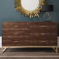 Walnut 6 Drawer Wide Chest of Drawers