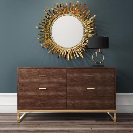 Aubrey Walnut 6 Drawer Wide Chest of Drawers with Gold Legs