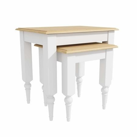 Set of 2 Side Tables in White with Pine Top - Auckland