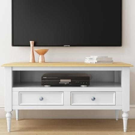 Auckland White TV Unit Stand with Pine Top