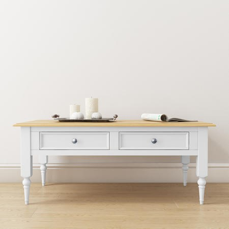 Auckland White Coffee Table with Pine Top