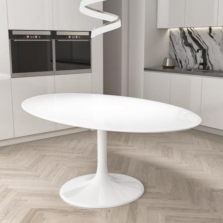 White Tulip Oval Dining Table in High Gloss - Seats 6 - Aura