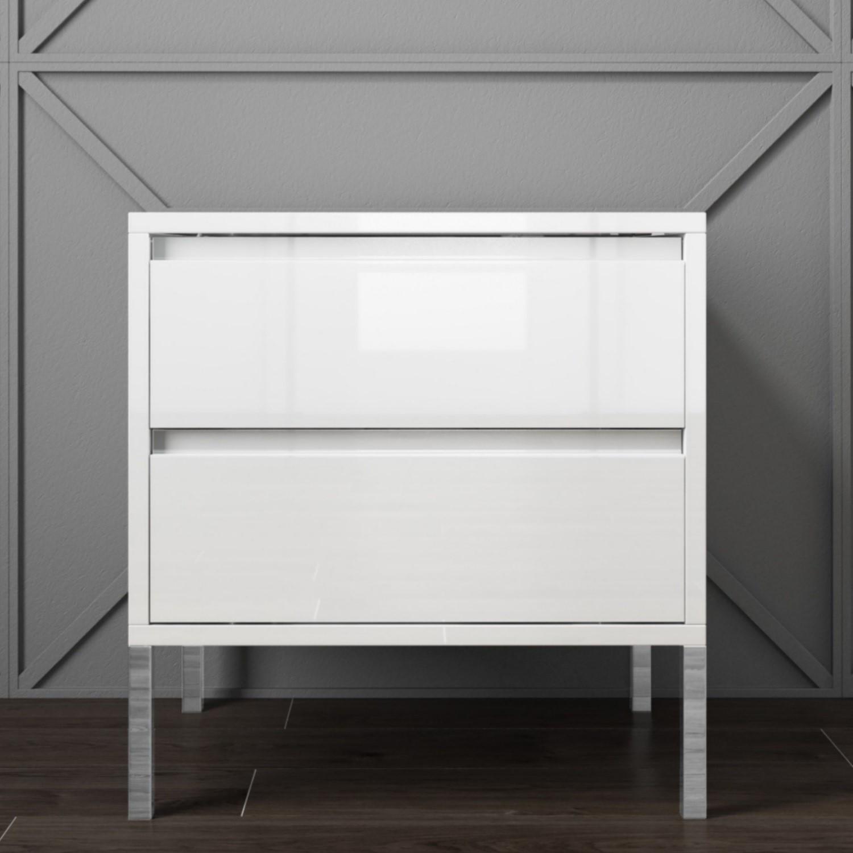 Austin White High Gloss 2 Drawer Bedside Cabinet Furniture123