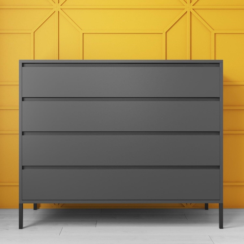 Austin Matt Grey 4 Chest Of Drawers Furniture123