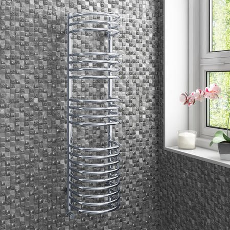 Chrome Bathroom Towel Radiator - 1200 x 320mm