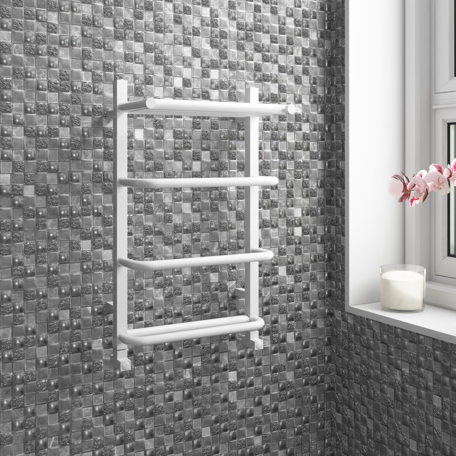 White Bathroom Towel Radiator  600 x 400mm