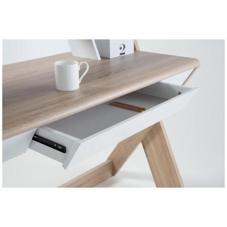 Aspen Office Desk Light Oak and White