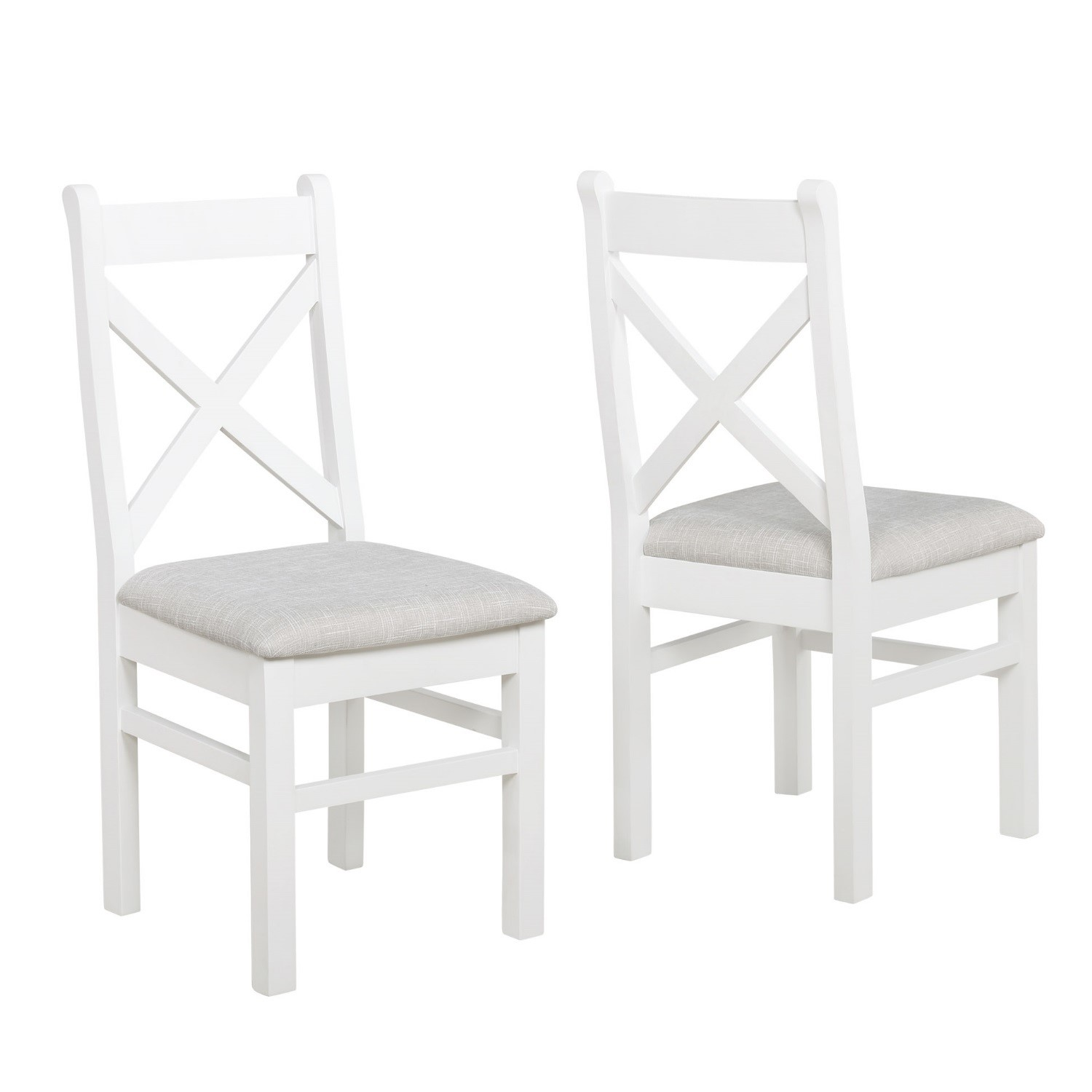 Aylesbury Pair Of White Wooden Dining Chairs With Cushioned Seat