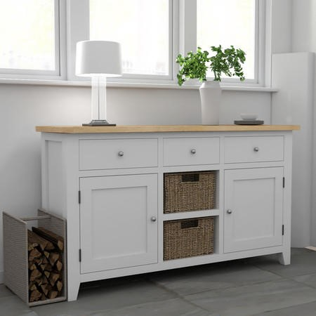 Large White Sideboard with Oak Top & Baskets - Aylesbury