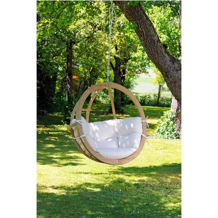 Globo Outdoor Wooden Swing Chair in White