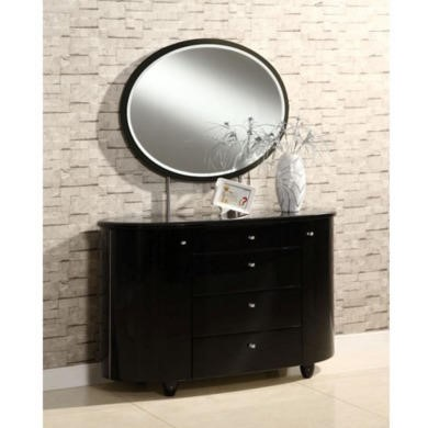 Birlea Furniture Aztec 4 Drawer Dresser & Mirror Set in Black High Gloss