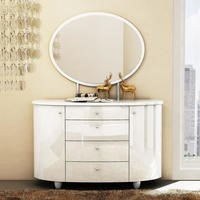 Aztec 4 Drawer Dresser & Mirror Set in White High Gloss