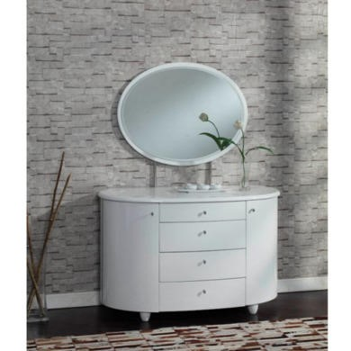 Birlea Furniture Aztec 4 Drawer Dresser & Mirror Set in White High Gloss