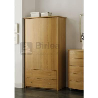 Birlea furniture aztec 2 door 2 drawer wardrobe with beech for Furniture 123 wardrobes