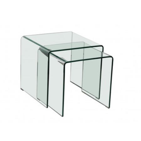 Lpd Azurro Glass Nest Of Tables Furniture123