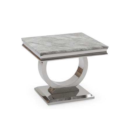 Arianna Marble Lamp Table in Grey - Vida Living