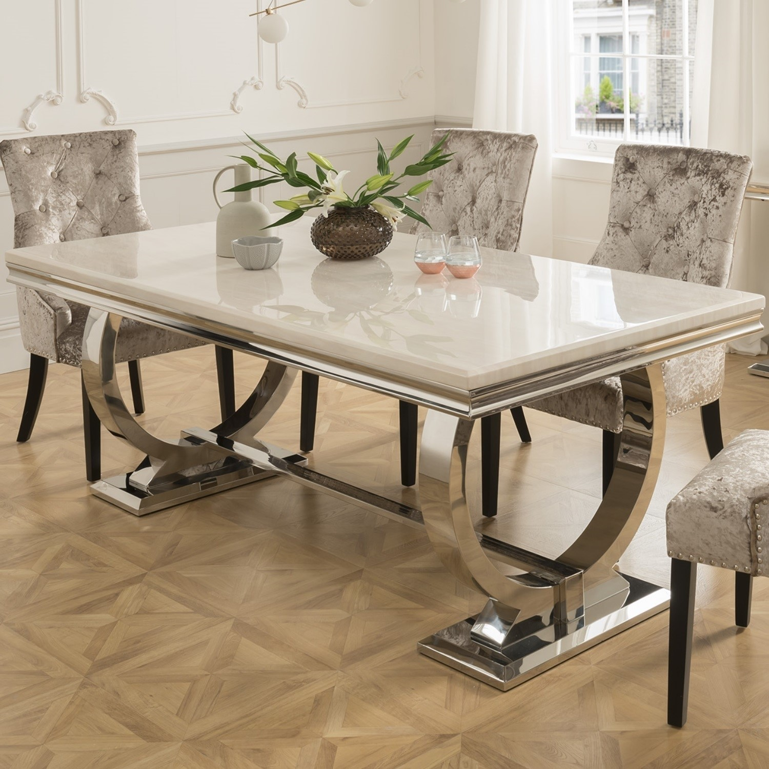 Arianna Rectangle Cream Marble Dining Table 180cm Vida Living Furniture123