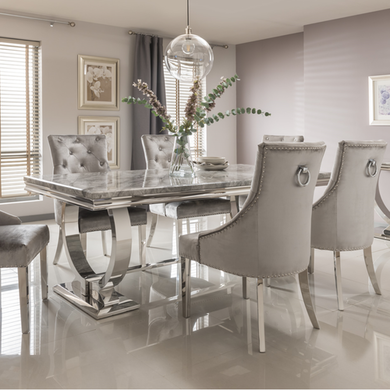 Arianna Grey Marble Dining Table 180cm Vida Living Seats 6 Furniture123