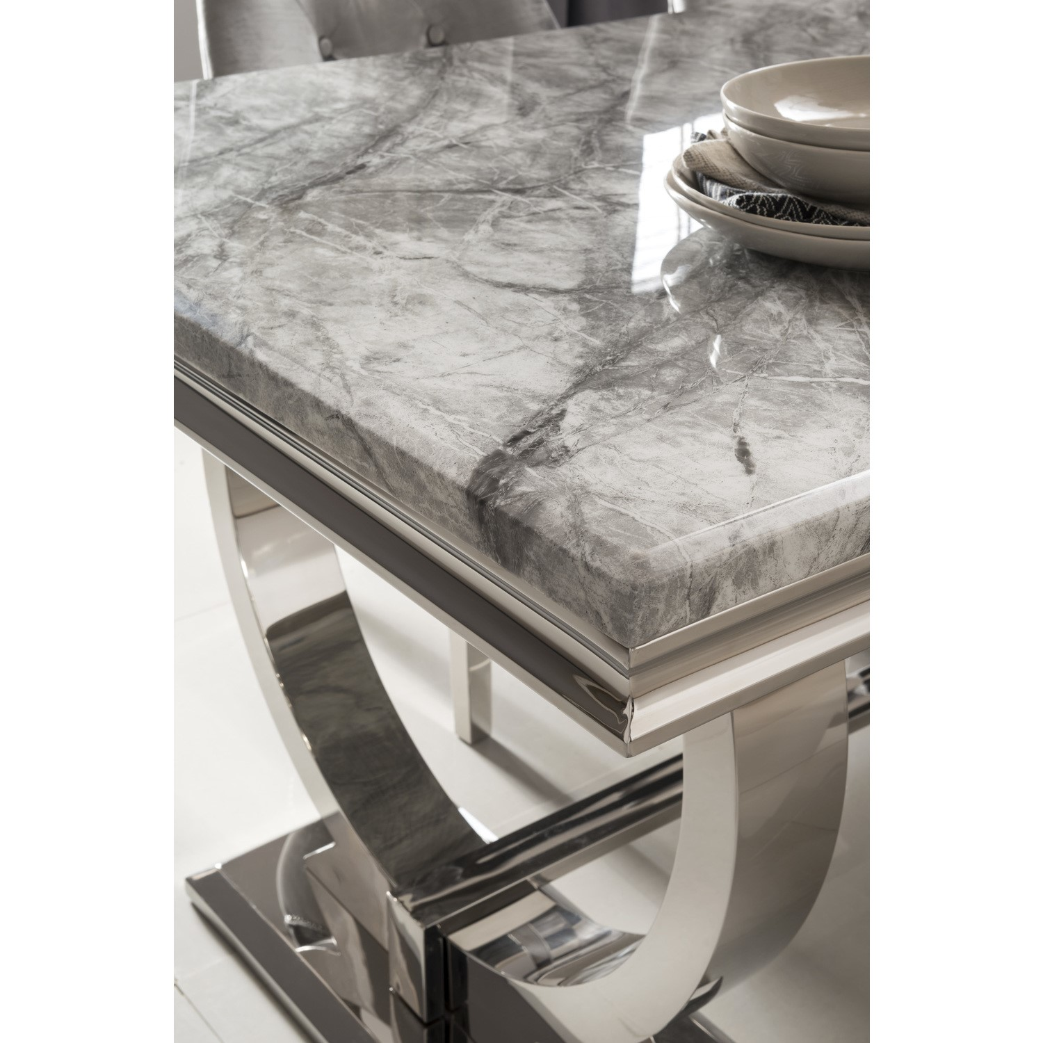Picture of: Arianna Grey Marble Dining Table 180cm Vida Living Seats 6 Furniture123