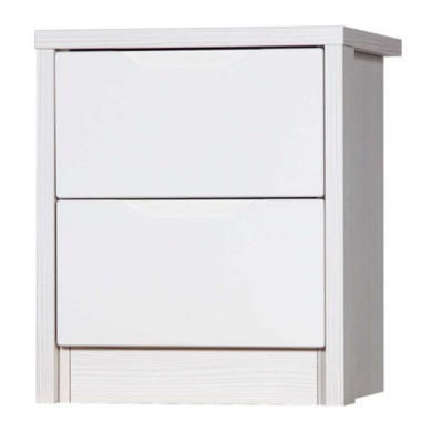 Avola 2 Drawer Bedside Chest in White with Cream Gloss
