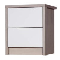 Avola 2 Drawer Bedside Chest in Champagne with Cream Gloss