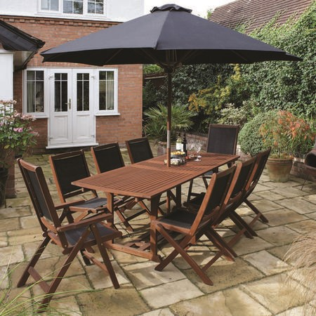 Rowlinson Large Dark Wood Garden Dining Set - Seats 8 - Black Parasol Included