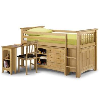 Julian Bowen Barcelona Solid Pine Midsleeper Bed with Right Hand Facing Ladder