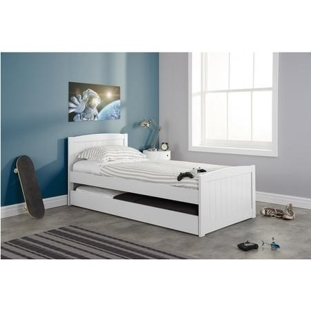 Beckton Single Guest Bed in White - Trundle Bed Included
