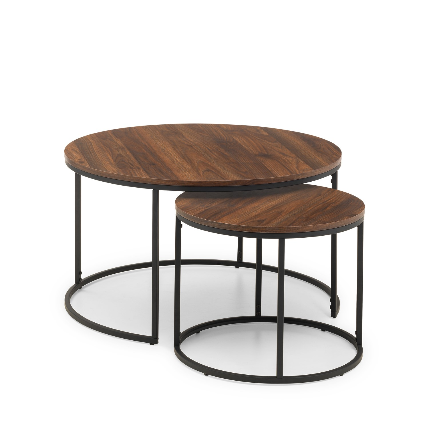 - Round Dark Wood Nest Of Coffee Tables With Black Metal Base